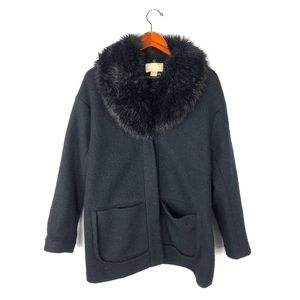 H&M 12 Coat faux fur button snap wool knit elegant